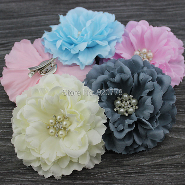 Free shipping Hair bows ,silk fabric peony flower hair clip & Brooch for baby girl or women ,Accessories for hair, 24pcs/lot(China (Mainland))