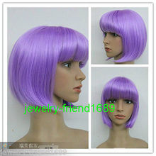 Wholesale& heat resistant LY free shipping>>New wig Heat Resistant Cosplay Short Straight Light Purple Women's Full Wig