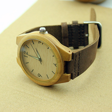 MEN'S Bamboo Wooden Watches With Genuine Cowhide Leather Band Japan Quartz Movement 2035 Wood Wristwatch