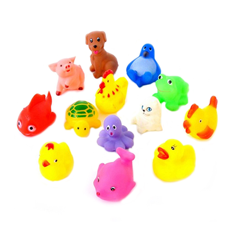 13Pcs Baby Bath Toys Mixed Colorful Animals Soft Rubber Float Squeeze Sound Squeaky pool float(China (Mainland))