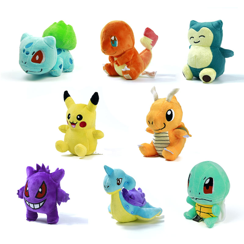 "8 style Mini Pokemon Figure Plush Doll Toy 5.5"" Pikachu Charmander Gengar Bulbasaur Suicune Dragonite Snorlax Figure Toy Gift(China (Mainland))"