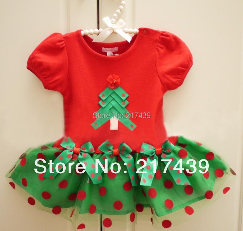 Kids baby girls clothing childrens Christmas Xmas Tree dress summer dresses(China (Mainland))