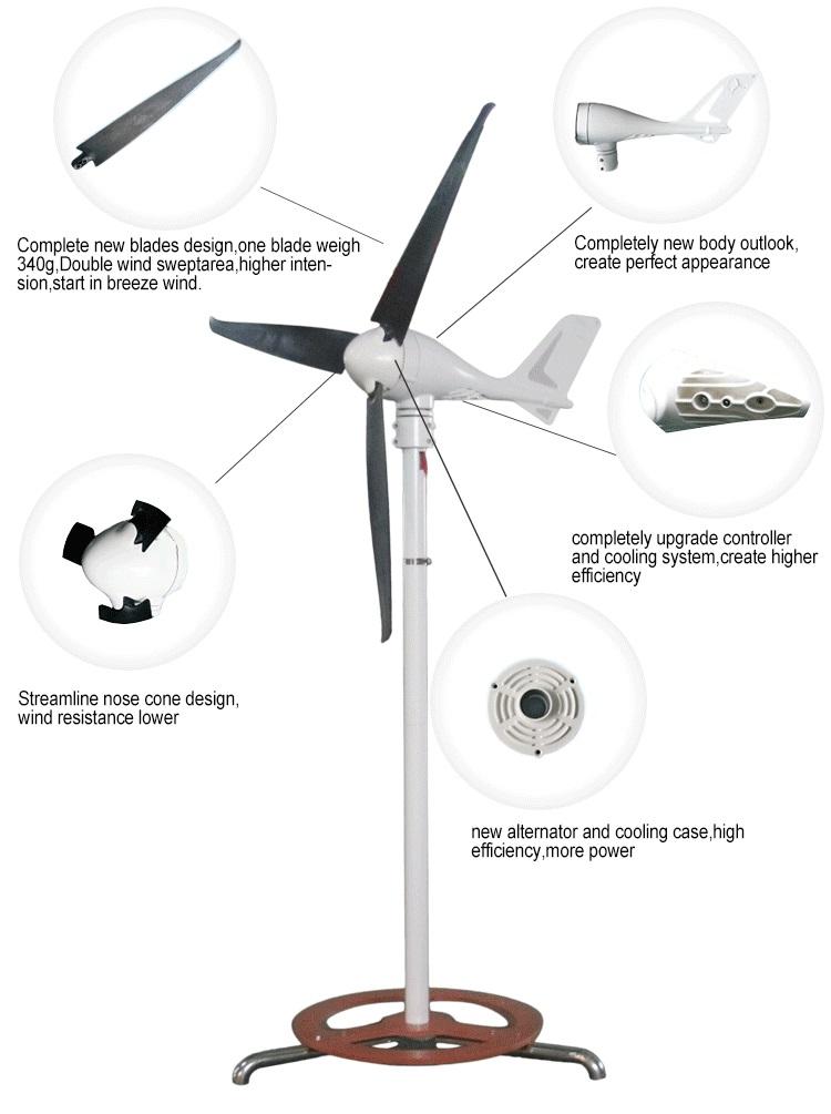 Power 400w marine type wind power generator with wind-solar hybrid controller(China (Mainland))