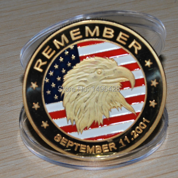9/11 Coin Silver Eagle September 11th 911 New York City United we Stand Man USA coin,10pcs/lot Free shipping(China (Mainland))