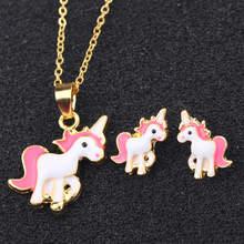 Heißer Verkauf Rosa Einhorn Halskette Ohrring Tier Schmuck Sets Cartoon Pferd Schmuck Set Für Mädchen(China)