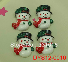 STOCK! 30pcs Green Hat Snowman Resin Cabochon Flatback Embellishment For Hair Phone Home Decoration Making Crafts DIY(China (Mainland))