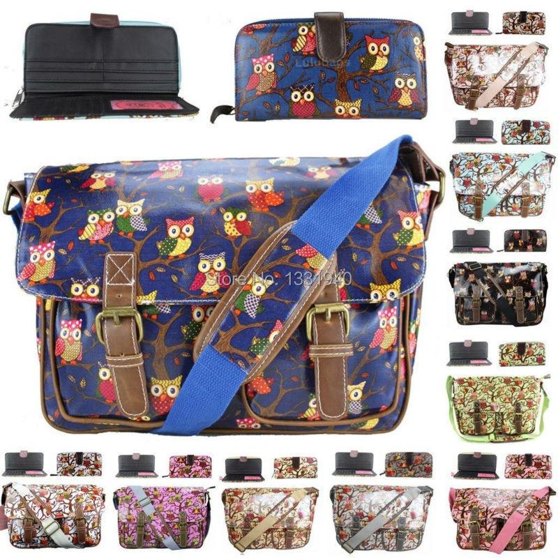 1 Set ( 1 Owl Oilcloth Satchel + 1 Owl Matching Color Oilcloth Long Purse ) A4 School Messenger Bag Wallet Gift(China (Mainland))