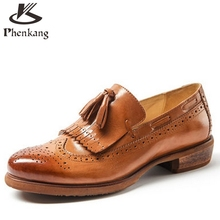 Genuine leather retro quality tassel loafers flat British Bullock round toe black brown 2017 oxford shoes for women us size 8(China (Mainland))