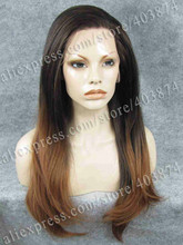 N2 PT2 30 Ombre Brown and Honey Blonde Color Long Silky Straight Texture Synthetic Lace Front
