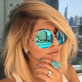 Vintage Round Big Size Oversized lens Mirror Brand Designer Pink Sunglasses Lady Cool Retro UV400 Women