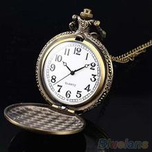Retro Vintage Unique Bronze Quartz Pendant Chain Necklace Clock Pocket Watch