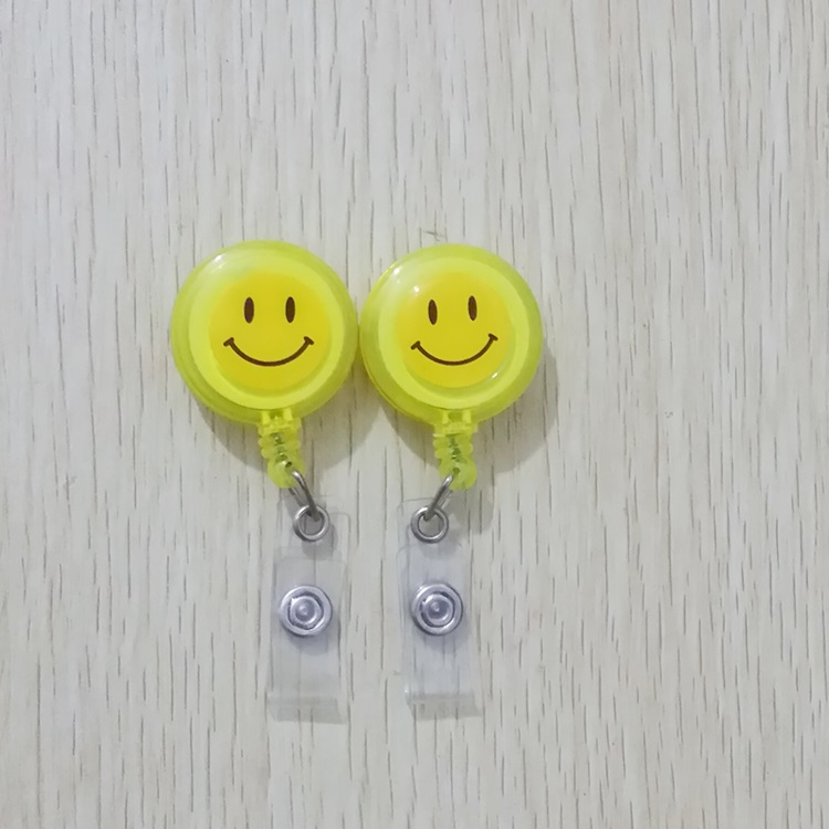 Transparent Smiling Retractable Badge Reel with Belt Clip for ID Badge Holders Card Name Tag Holders 1pcs Yellow(China (Mainland))