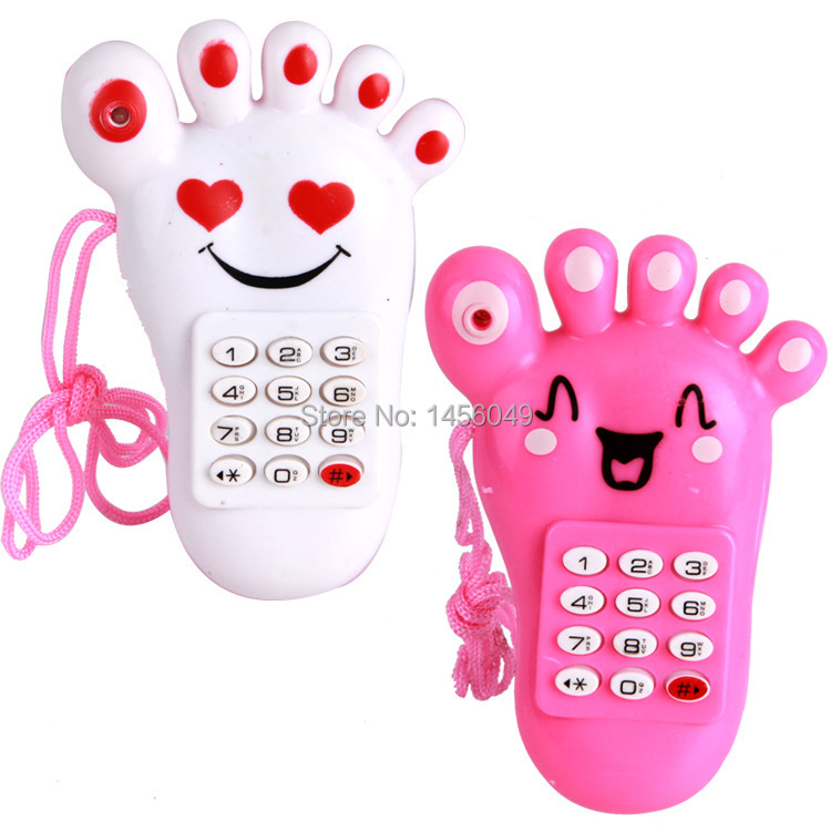 2pcs/lot Kid Toy Cellphone Mobile Phone with Sound and Light Baby Mobile Early Educational Learning Toy Pink Electronic Phone(China (Mainland))