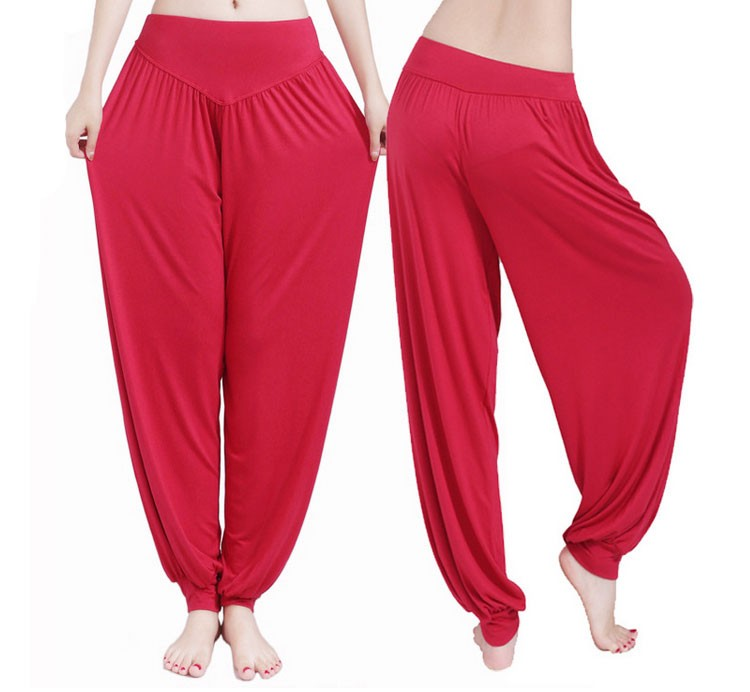 Yoga Pants Women Plus Size Colorful Bloomers Dance Yoga TaiChi Full Length Pants Smooth No Shrink Antistatic Pants Fast Shipping 2015 026