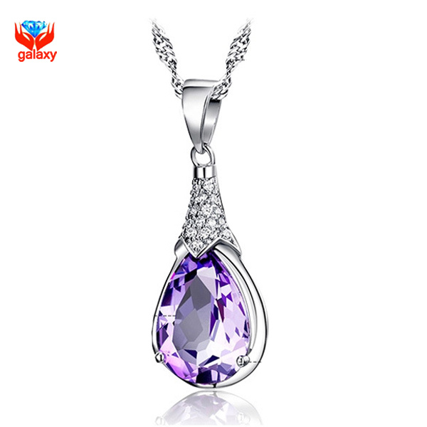 GALAXY Super Deals!!! 100% 925 Sterling Silver Jewelry Necklace Fashion Purple Austrian Crystal Pendant Necklace for Women YN066(China (Mainland))