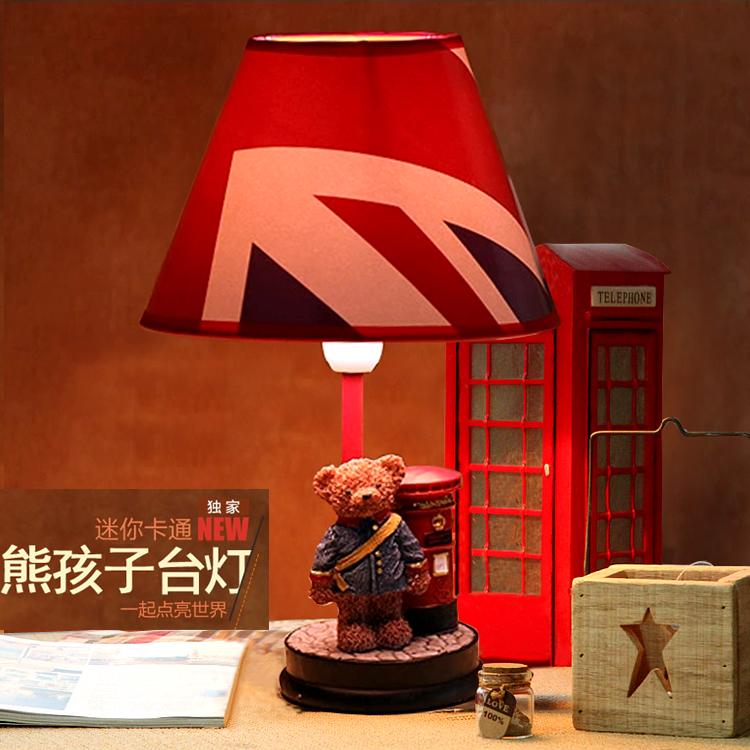 Child real cartoon table lamp bed-lighting table lamp bear night light birthday gift(China (Mainland))