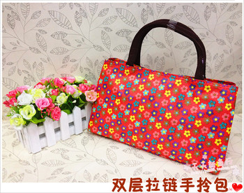 Canvas small bag double layer zipper female bags handbag tote bag small handbag classic Small  MOQ>=10USD