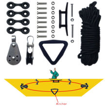 Free Shipping  Free Shipping Kayak Canoe Anchor Trolley Kit System Pulley Cleat Pad eye Ring W/ Ropes Kayak accessories(China (Mainland))