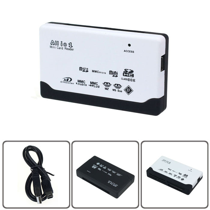 USB 2.0 Card Reader for SD XD MMC MS CF SDHC TF Micro SD M2 Adapter High Quality mini card reader Free Shipping Black White(China (Mainland))