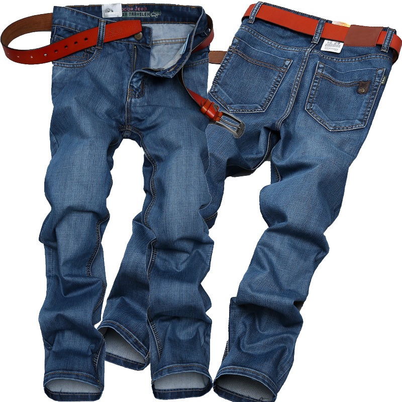New Famous Brand Fashion Leisure True Jeans Men Mid Waist Straight Denim Long Trousers Business Designer Jeans Casual Jeans Pant(China (Mainland))