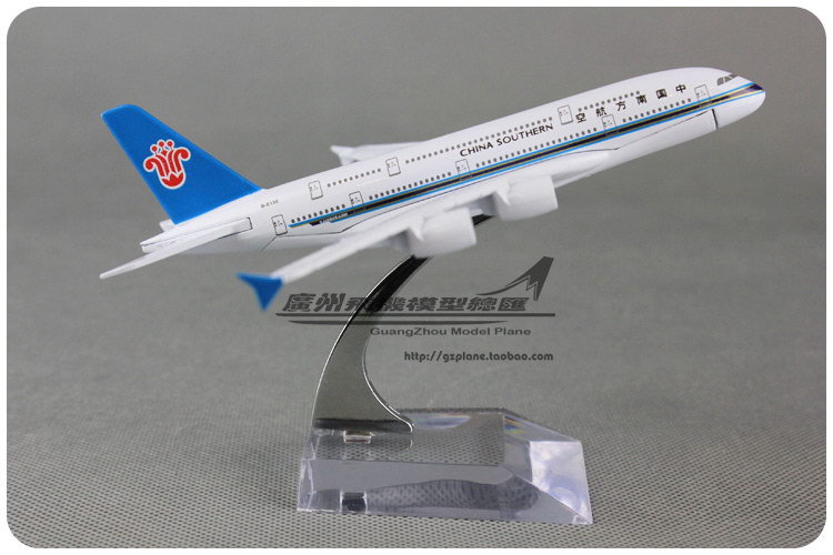 16cm Alloy Metal Air China Southern Airlines Airplane Model Airbus 380 A380 B-6136 Airways Plane Model Diecast Toy(China (Mainland))