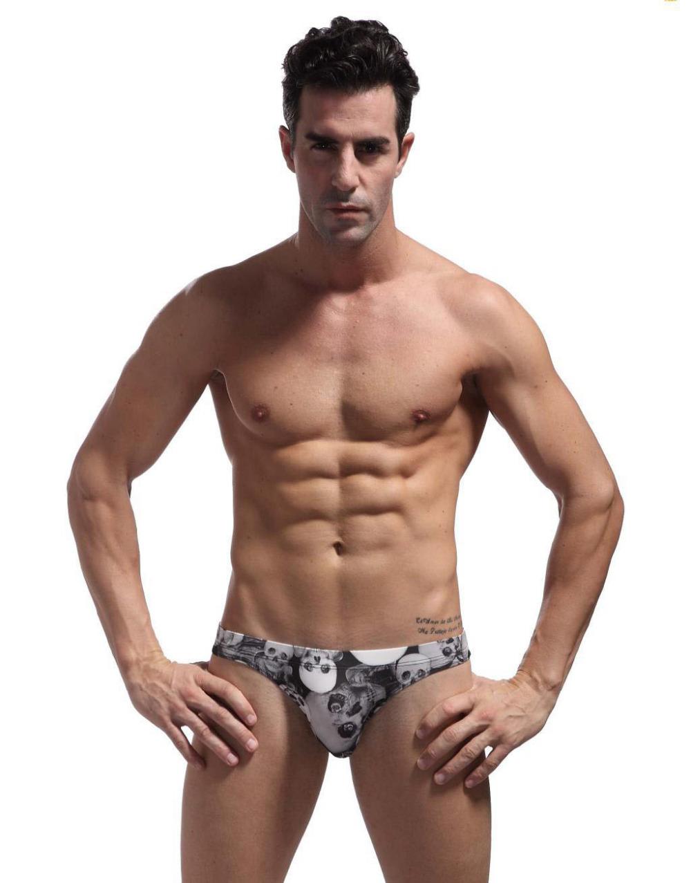 2015 Swimwear Men Skull Printing Bikini Swimming Briefs for Bathing Fashion Swimsuit Slip de Bain Homme Men Brief Swimwear Sexy(China (Mainland))