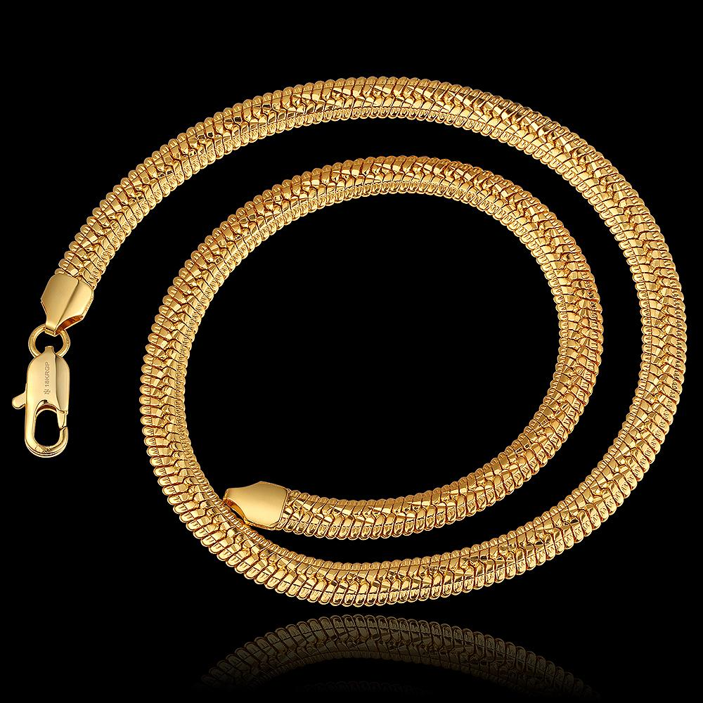18K Real Gold Plate Necklace With 18K Stamp New Fashion Men/Women Jewelry Wholesale Classic Link Chain Collar Fashion Necklace<br><br>Aliexpress