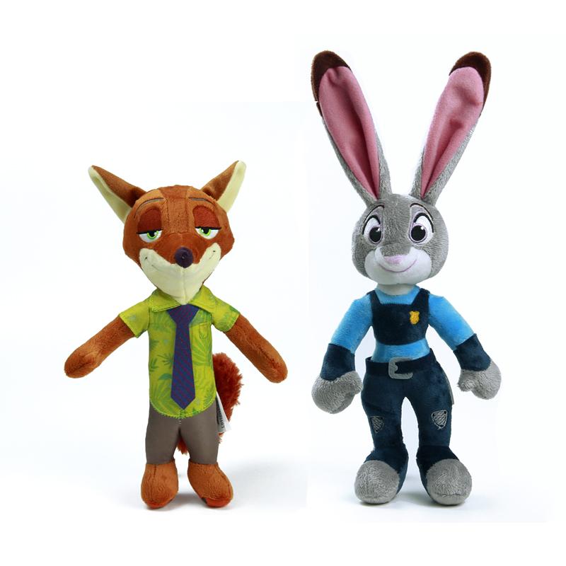 28 cm Zootopia conejo de peluche de juguete Judy Hopps Fox Nick Wilde niños película Dolls juguetes rellenos felpa Zootopia muñecas y accesorios de regalo(China (Mainland))