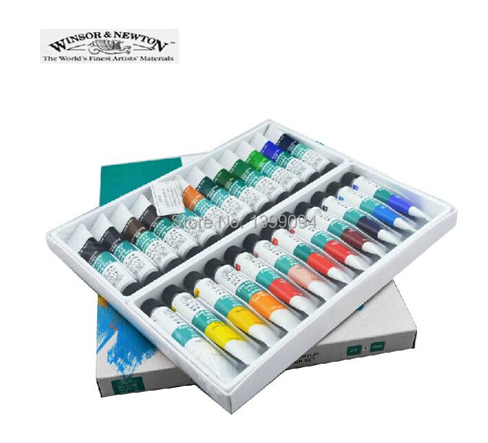 New!24 Colors WINSOR NEWTON Pro Acrylic Paint Nail Art Polish 3D Paint Decor Design Tips Tube Set(China (Mainland))