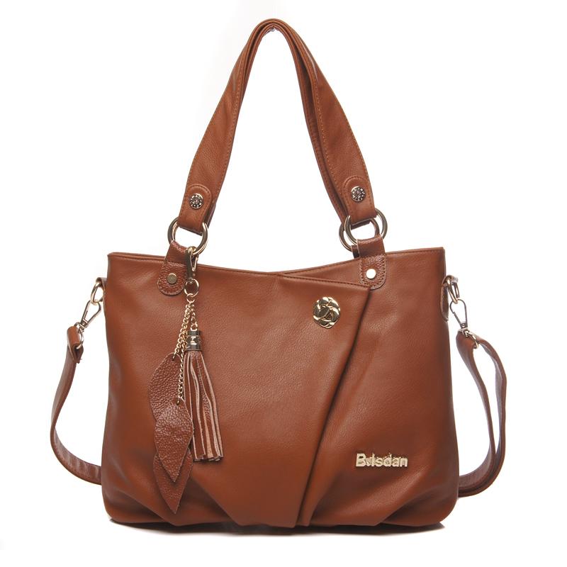 New hot sale occident brands fashion vintage women genuine leather handbag messenger bags cowhide shoulder tassel women bag(China (Mainland))
