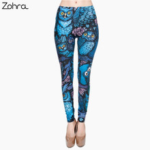 Zohra New Hot Night Owl Full Printing Pants Women Clothing Ladies fitness Legging Stretchy Trousers Skinny Leggings(China (Mainland))