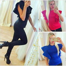 Summer 2016 New Women Flare-Sleeve Blouses & Shirts Fashion Women's Short Pullover Tops Stylish Elegand Brand Blusas femininas