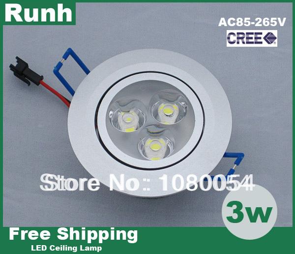 Здесь можно купить  10pcs/lot 3w LED down light cool/ warm white AC85-265V ceiling light spotlight power New Design CREE chip  Свет и освещение
