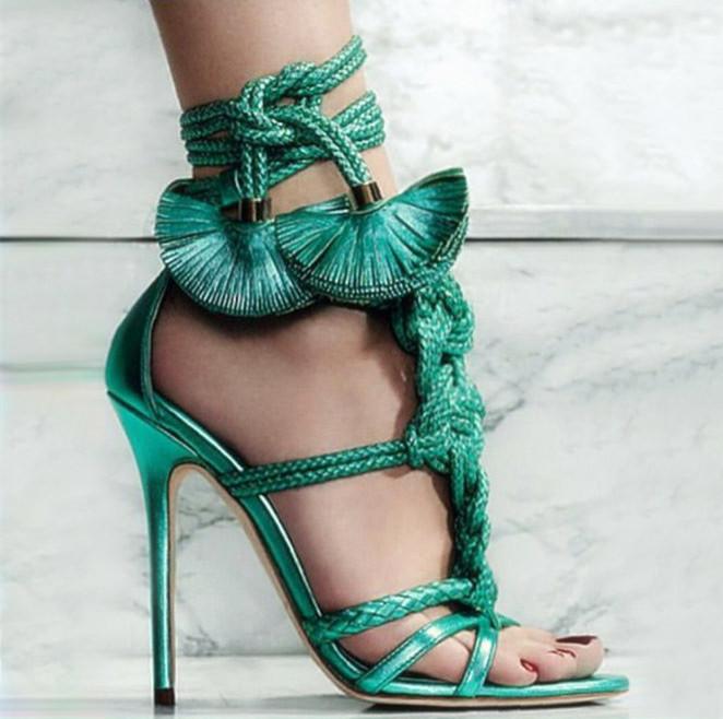 Summer Style Women Rope High Heels Cross Tied Gladiator Platform Sandals Peep Toe Tassel Shoes Woman Sandalia Strappy Zapatillas(China (Mainland))