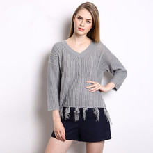 2016 Spring/Autumn Women Plus Size European Style Tops V-Neck Tassel Knitted Pullover Female Soft Cashmere Sweaters B008