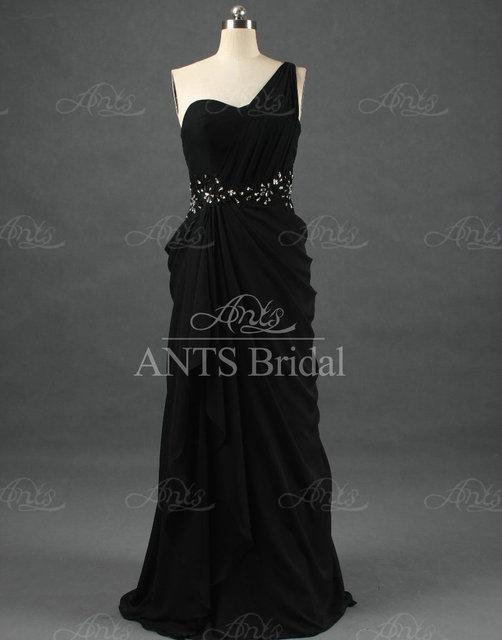 RE208 Women One shoulder New Fashion Long Chiffon Evening Dresses Black