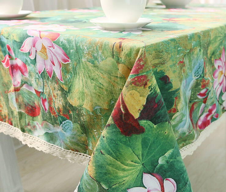 Europ Style Table Cloth Round Cotton 140CM Lace Table Clothes Plain Dyed Lotus Table Cloth Runner For Home(China (Mainland))