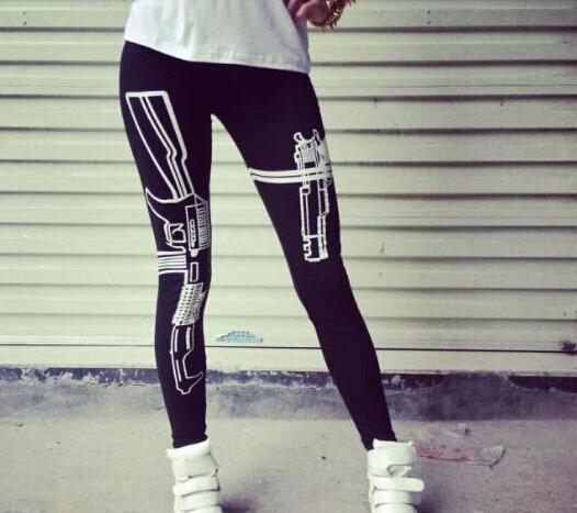 New Machine Gun Printed Black Soft Cotton Sport Leggings Training Pants & capris For Women Fitness Casual Trousers(China (Mainland))