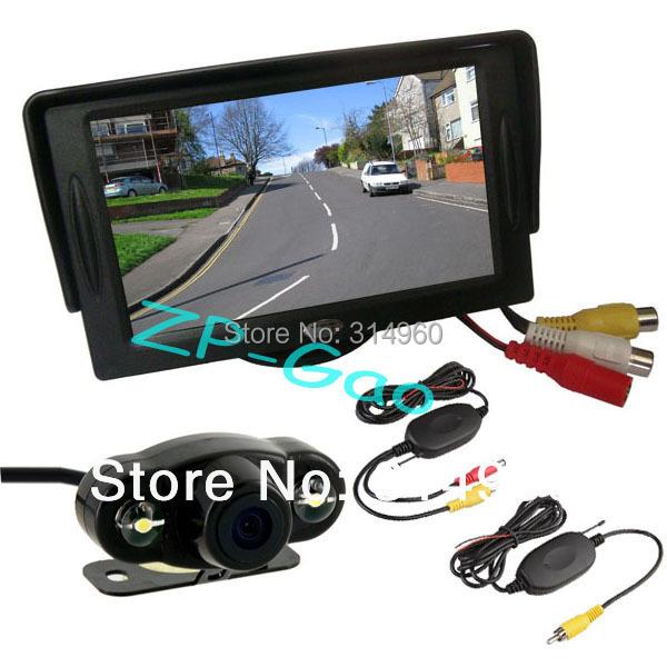 "4.3"" TFT LCD Monitor Car Rear View Kit + 2 IR LED Wireless Reversing Camera Waterproof 170 Degree Free Shipping(China (Mainland))"