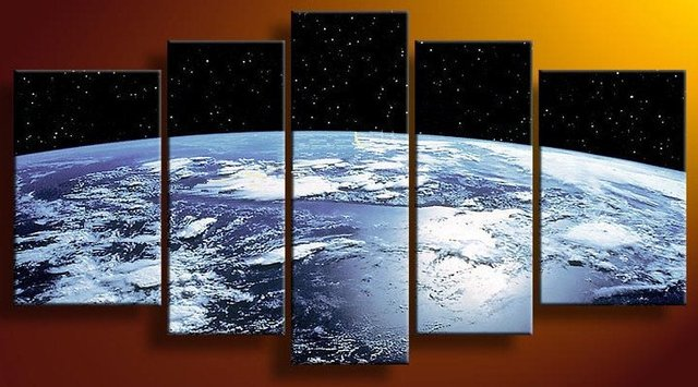 The Earth Map From the Space ,Large Handmade Modern Canvas Oil Painting Wall Art ,Free Shipping Worldwide