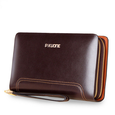 Famous Brand Men Wallets Double Zipper Genuine Leather Clutch Bag Natural Cowhide Purse Large Capacity Wallet Carteira Masculina<br><br>Aliexpress