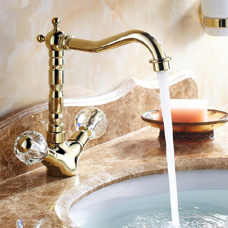 Retro Golden Faucets Bathroom Crystal Double Handle Basin Mixer Tap Noble Gorgeous Swivel Basin Sink Faucet 9256K(China (Mainland))