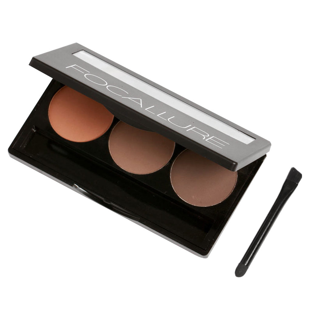 3 Colors Eyebrow Powder Eye Brow Palette Cosmetic Shading Kit With Wax Brush