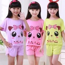 children's pajamas sets Summer pure cotton Girl Short sleeve nightgown Suit pyjamas kids Cartoon Home Furnishing clothing