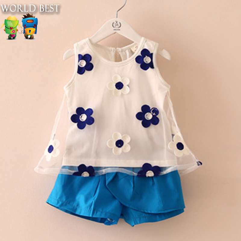 2015 New Summer Style Baby Girl Pants Baby Girl Clothes Cheap Kids Clothes New Design Baby Girl Summer Outfits Conjunto Menina(China (Mainland))