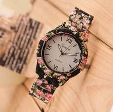 New Geneva Sport Casual Quartz Watch Women Dress Watches Female Flower Plastic Watch Wholesale Relogio Feminino