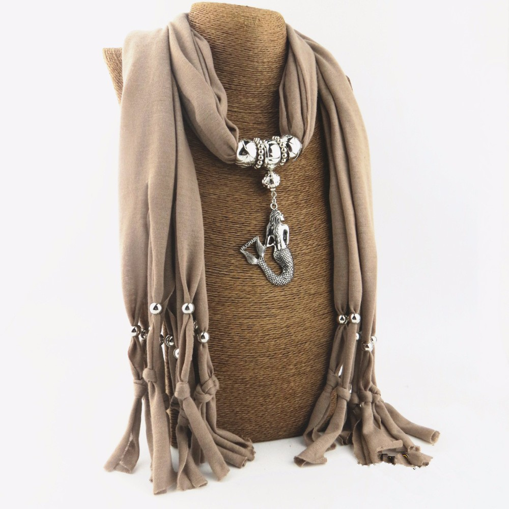 New arrival Spring Autumn Winter neat Little Mermaid  Pendant scarf Necklace for women gift NK1127