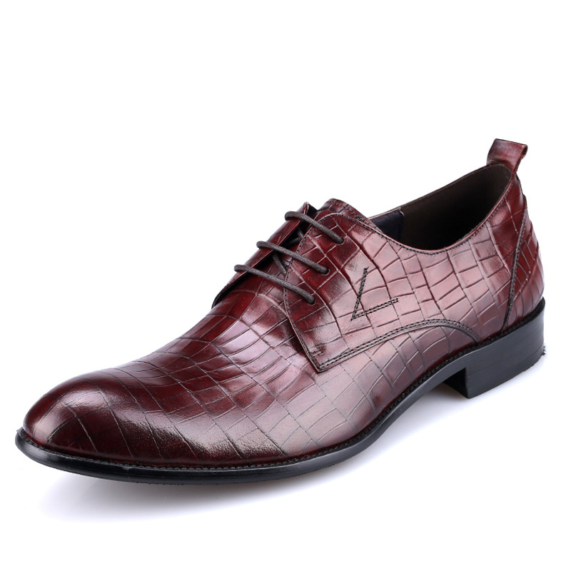 2016 luxury brand mens dress shoes genuine leather comfortable classic crocodile wedding men shoes basic flats for business z68(China (Mainland))