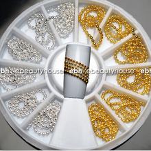 12 PCS Gold Silver 3D Nail Art Alloy Beads Chain DIY Decoration Stamping+ Wheel NA693(China (Mainland))