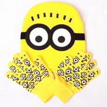 2015 autumn winter caps despicable me 2 minions gloves sets children knitted hat kids warming Hip-hop knitting Acrylic Hat(China (Mainland))